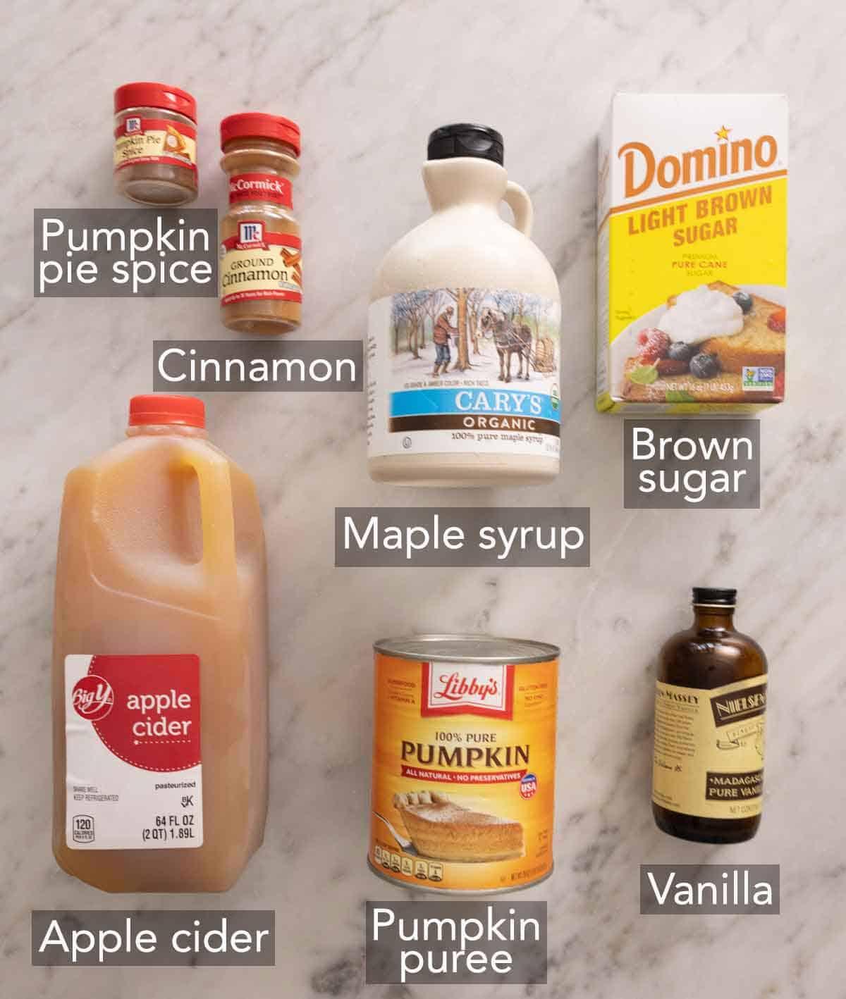 Ingredients needed to make pumpkin butter.