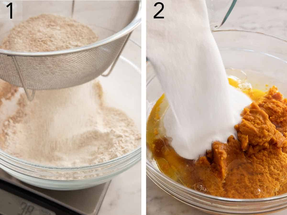 Set of two photos showing dry ingredients sifted and then sugar added to wet ingredients.