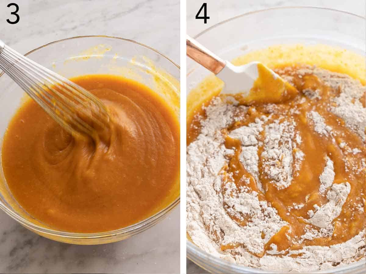 Set of two photos of the wet ingredients whisked before the dry ingredients are added.