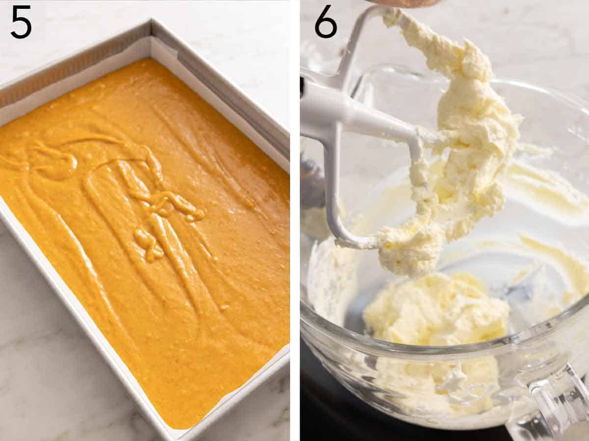 Set of two photos showing the batter poured into a prepared pan and cream cheese beaten.