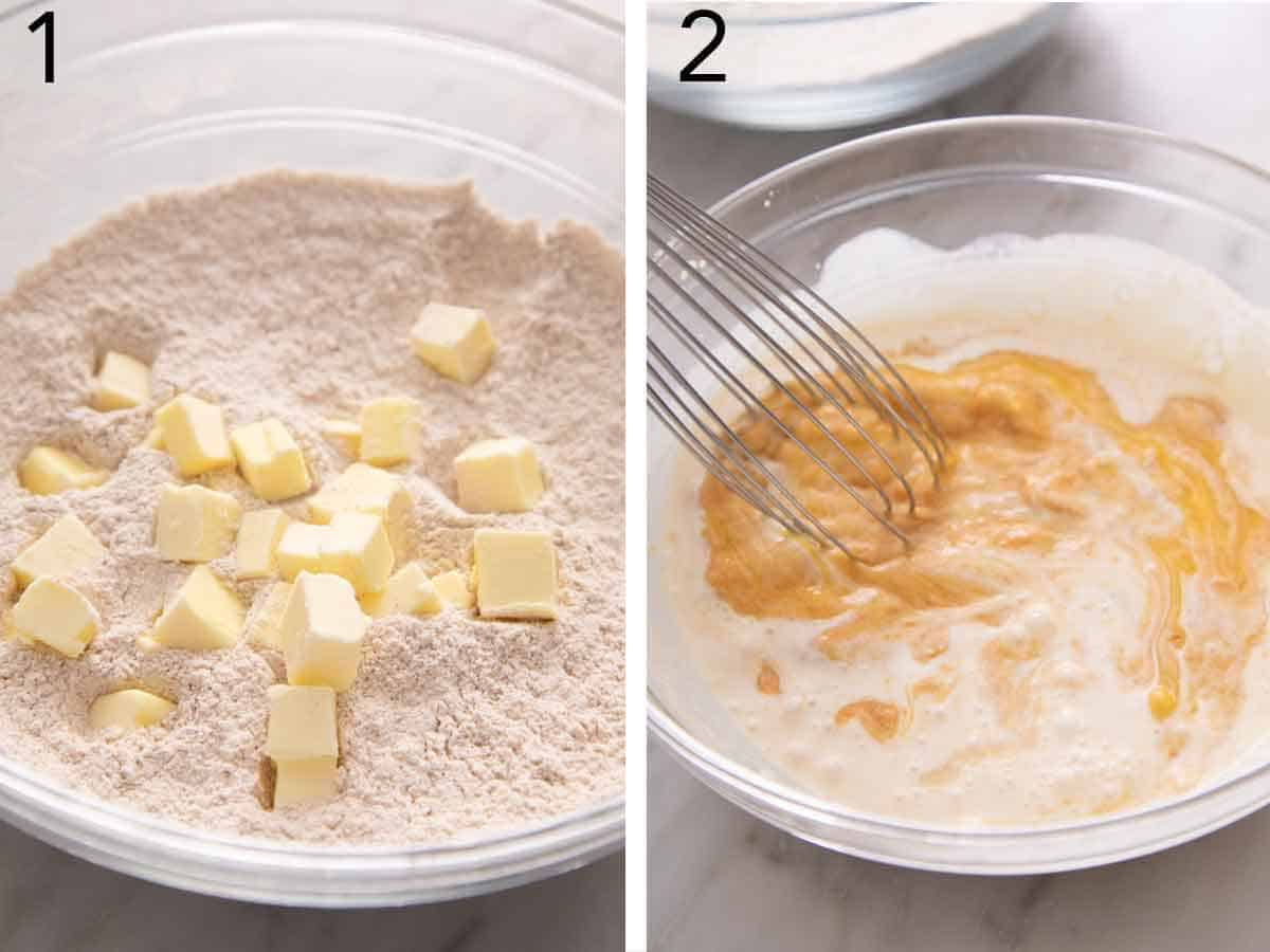 Set of two photos showing cubed butter added to a bowl of flour and second photo showing pumpkin purée, cream, brown sugar, egg, and vanilla.