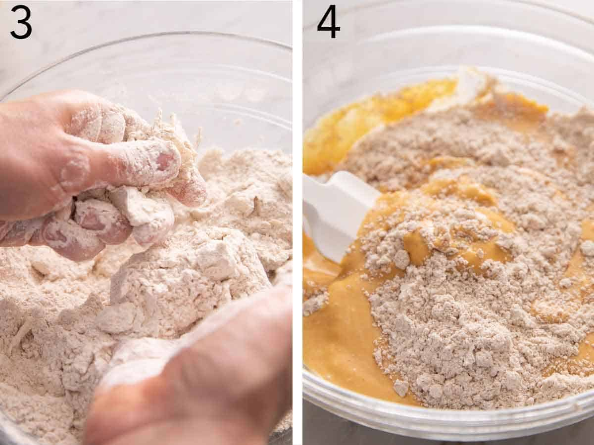 Set of two photos showing butter pressed into flour and then the wet and dry ingredients mixed together.