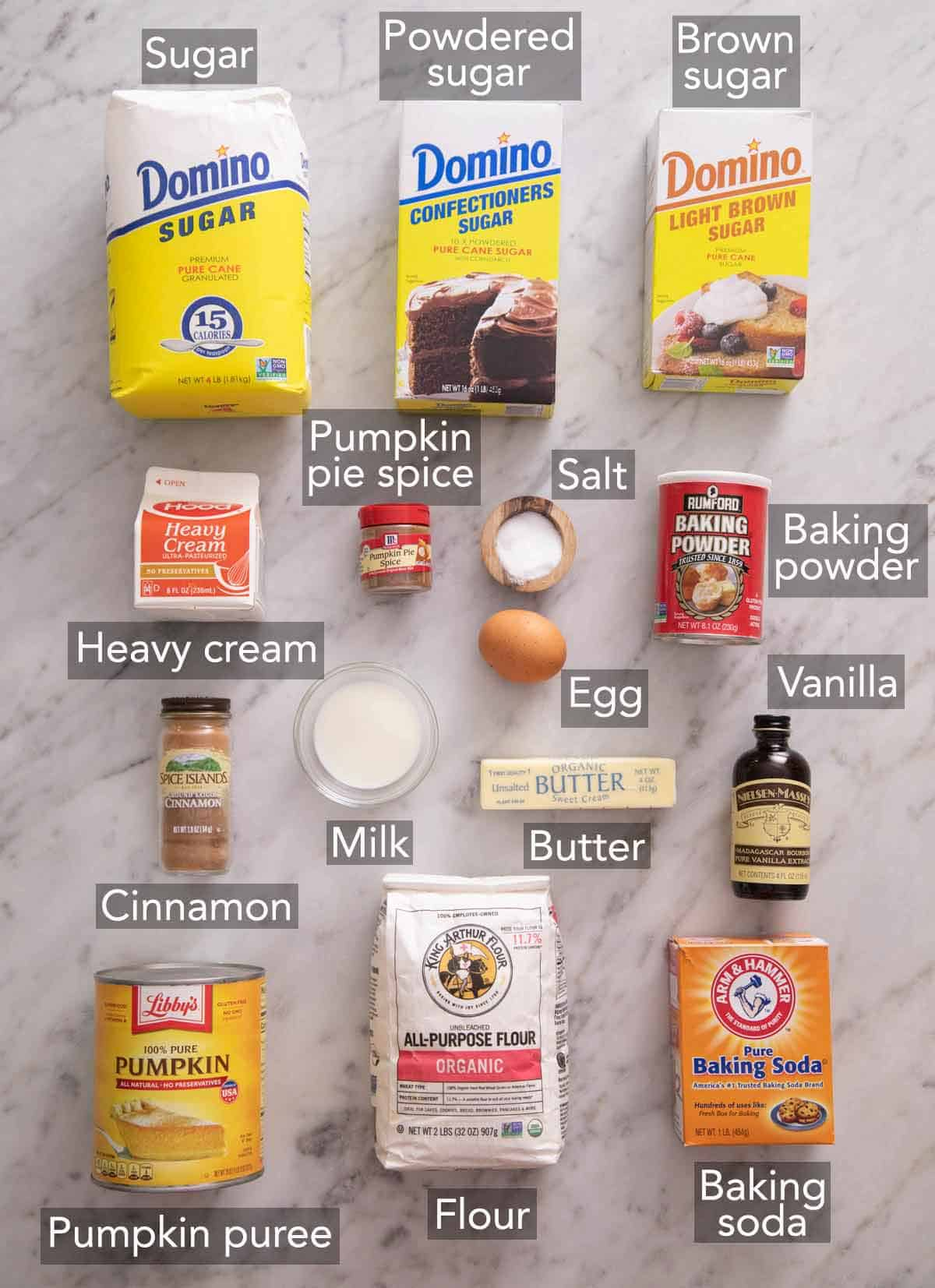 Ingredients needed to make pumpkin scones.