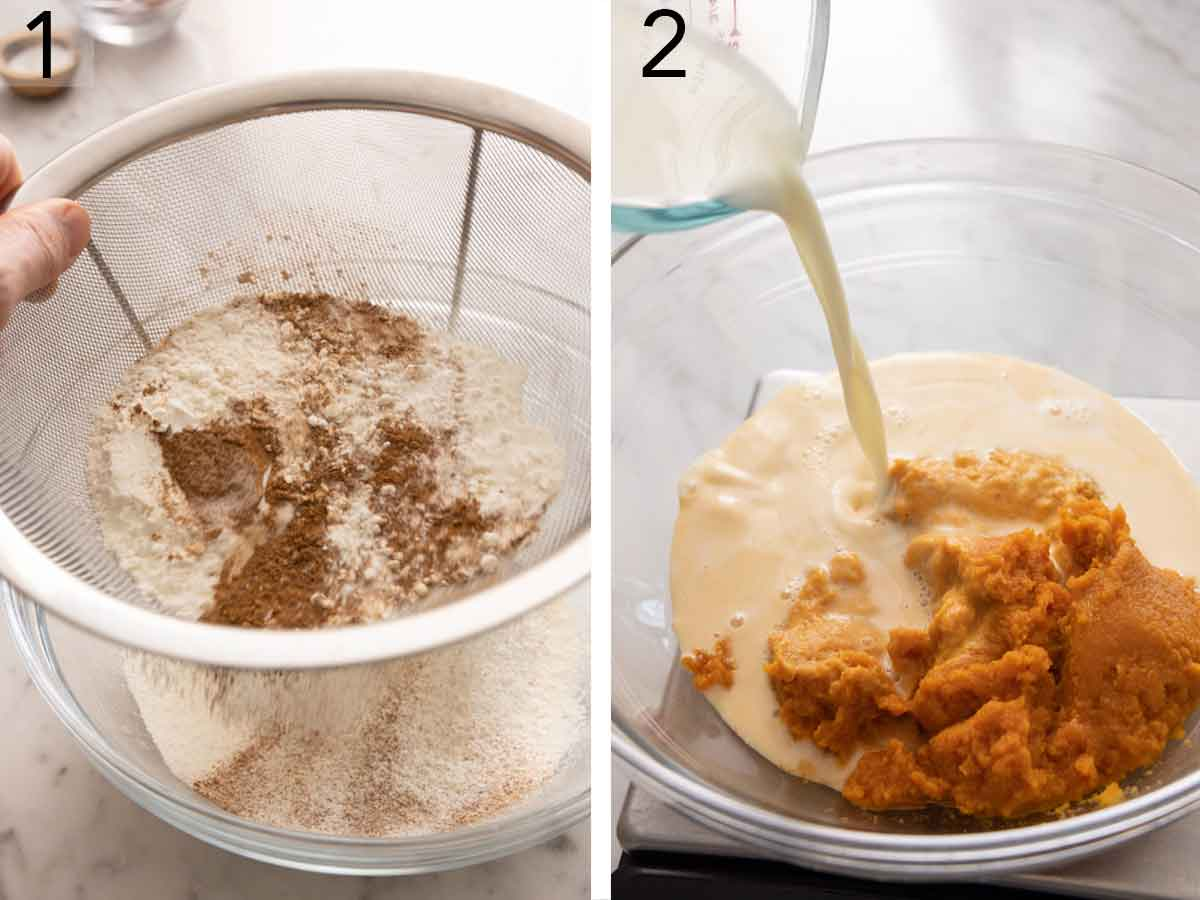 Set of two photos of dry ingredients being sifted and wet ingredients combined.