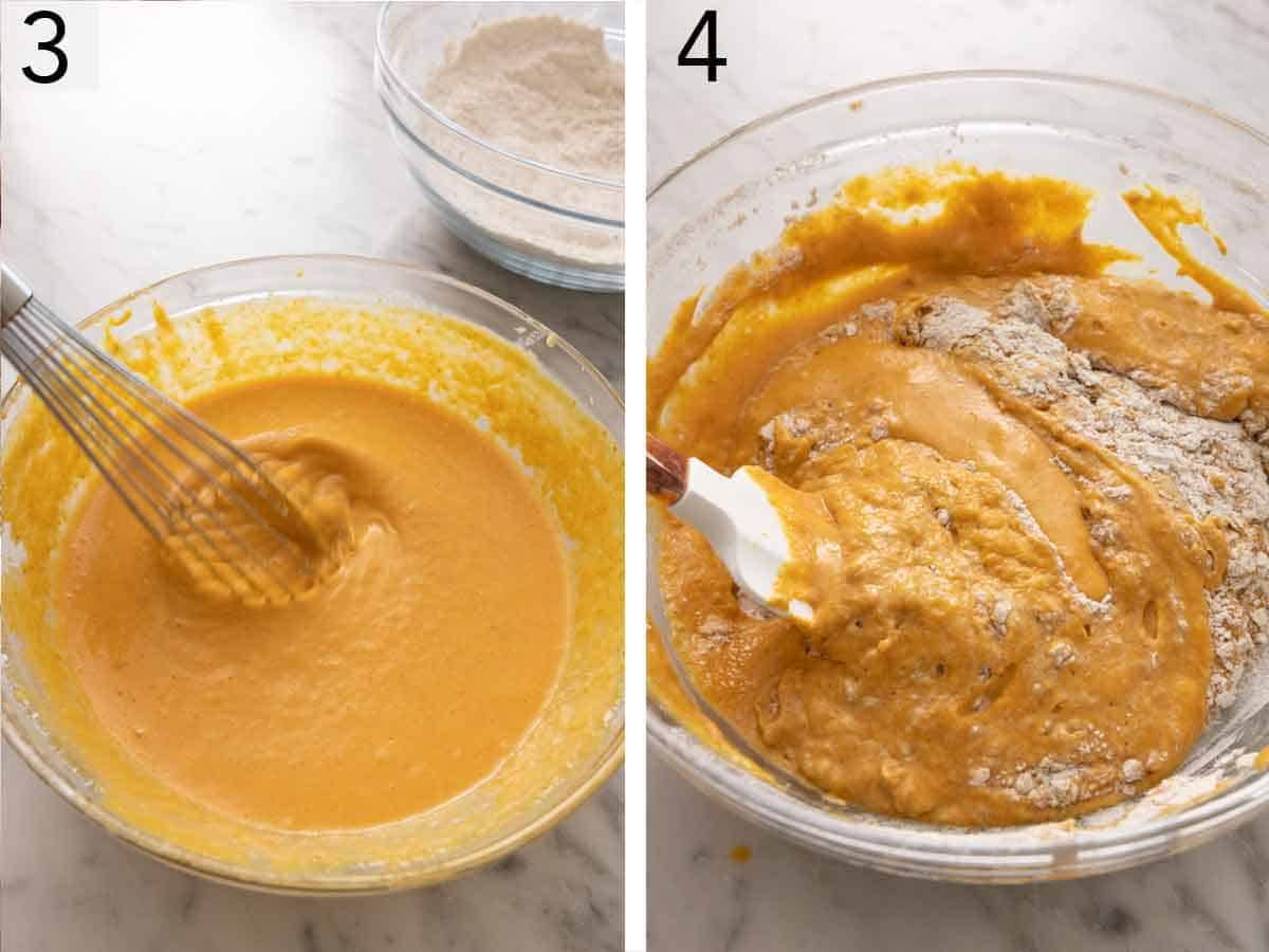 Set of two photos of the wet ingredients whisked together then combined with the dry ingredients.