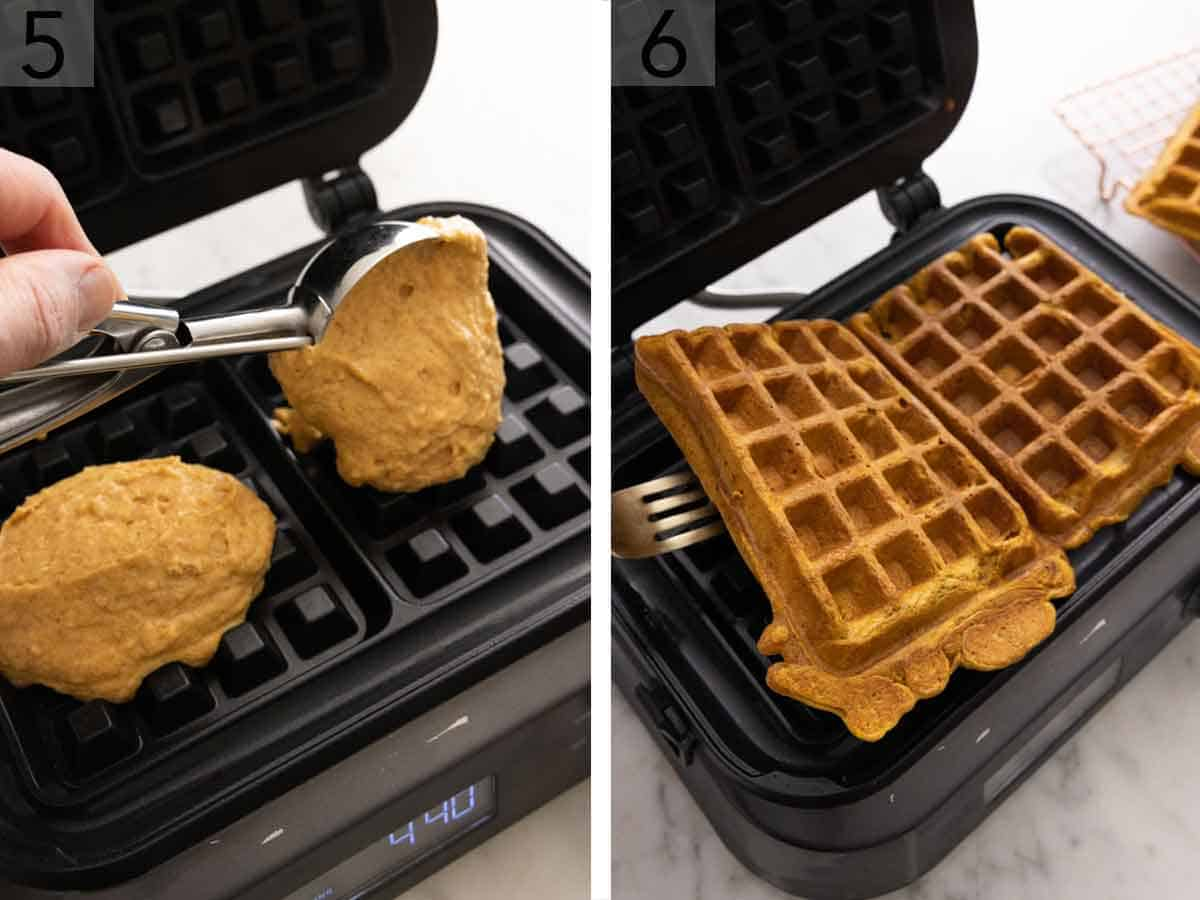 Set of two photos showing batter added to a waffle iron and the cooked waffles removed.