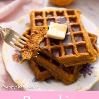 Pinterest graphic of a plate of pumpkin waffles with a fork holding up a bite.
