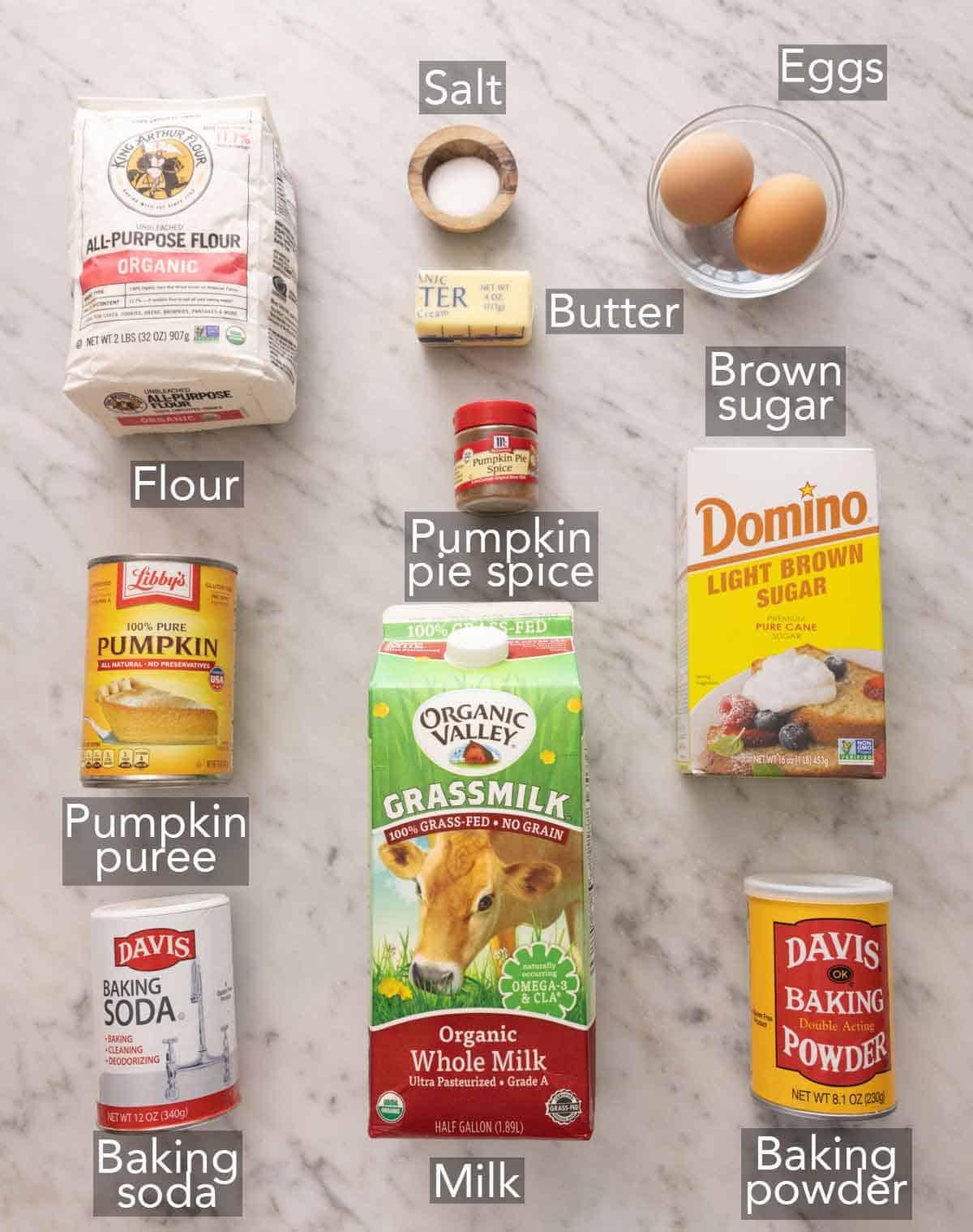 Ingredients needed to make pumpkin waffles.