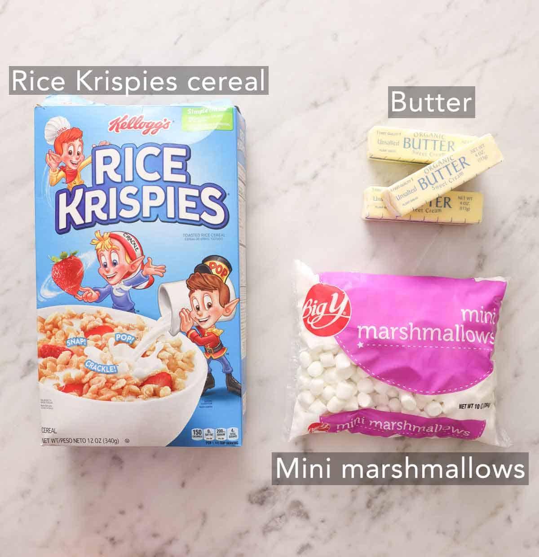 Ingredients needed to make rice crispy treats.