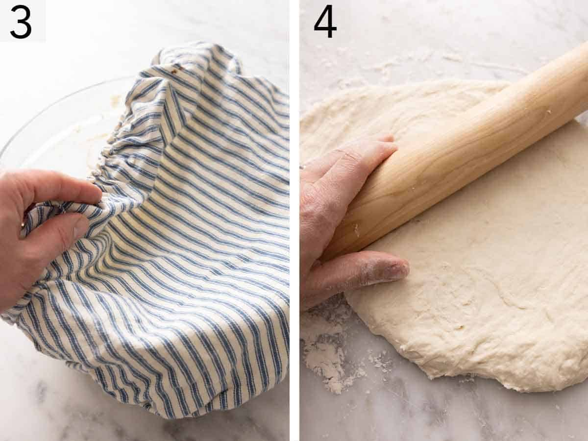 Set of two photos showing the dough resting then rolled out.