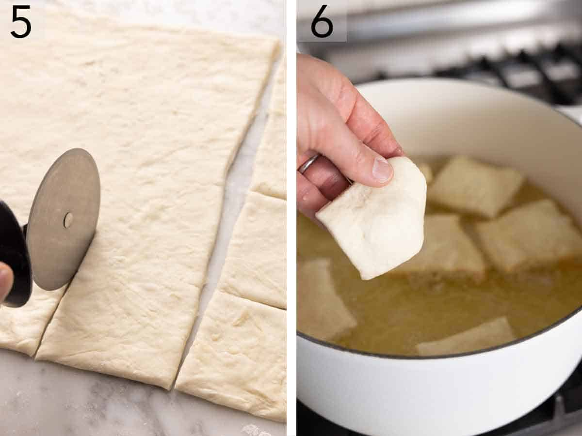 Set of two photos showing dough being cut into squares then added to oil to fry.