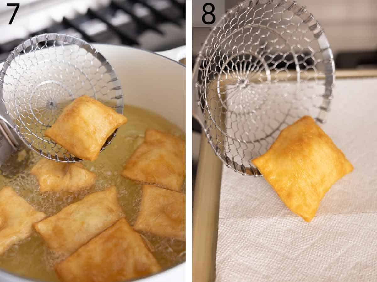 Set of two photos showing sopapillas removed from oil and set aside to drain.