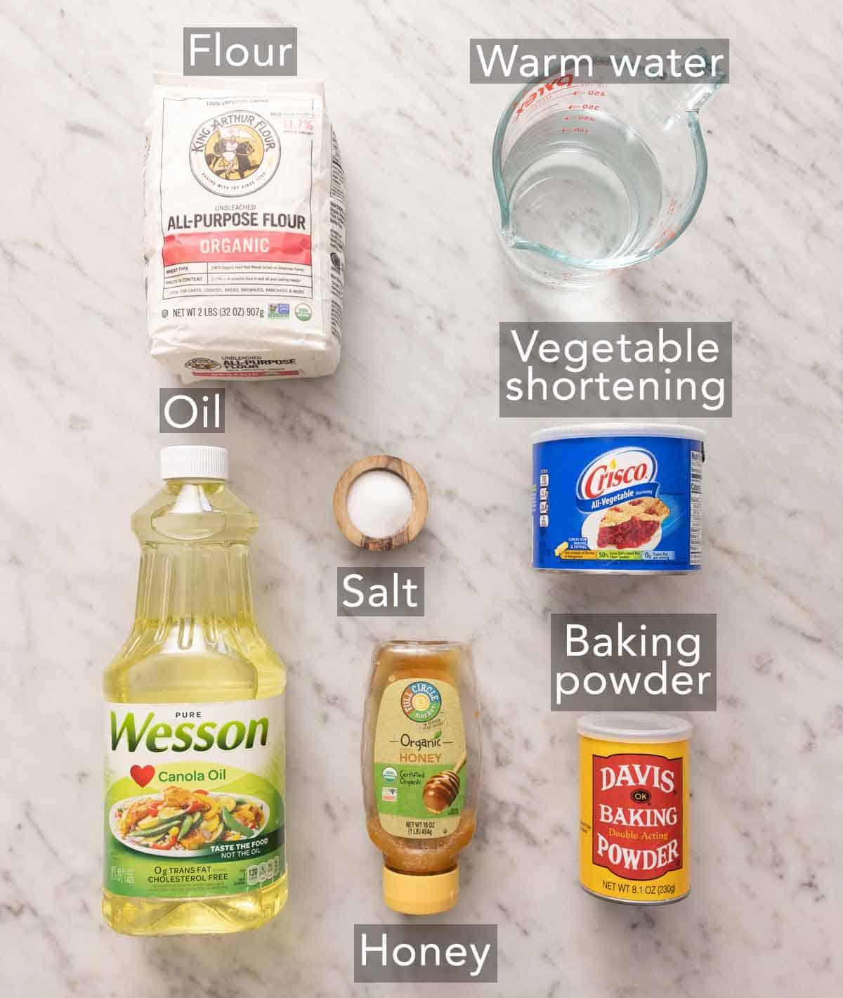 Ingredients needed to make sopapillas.