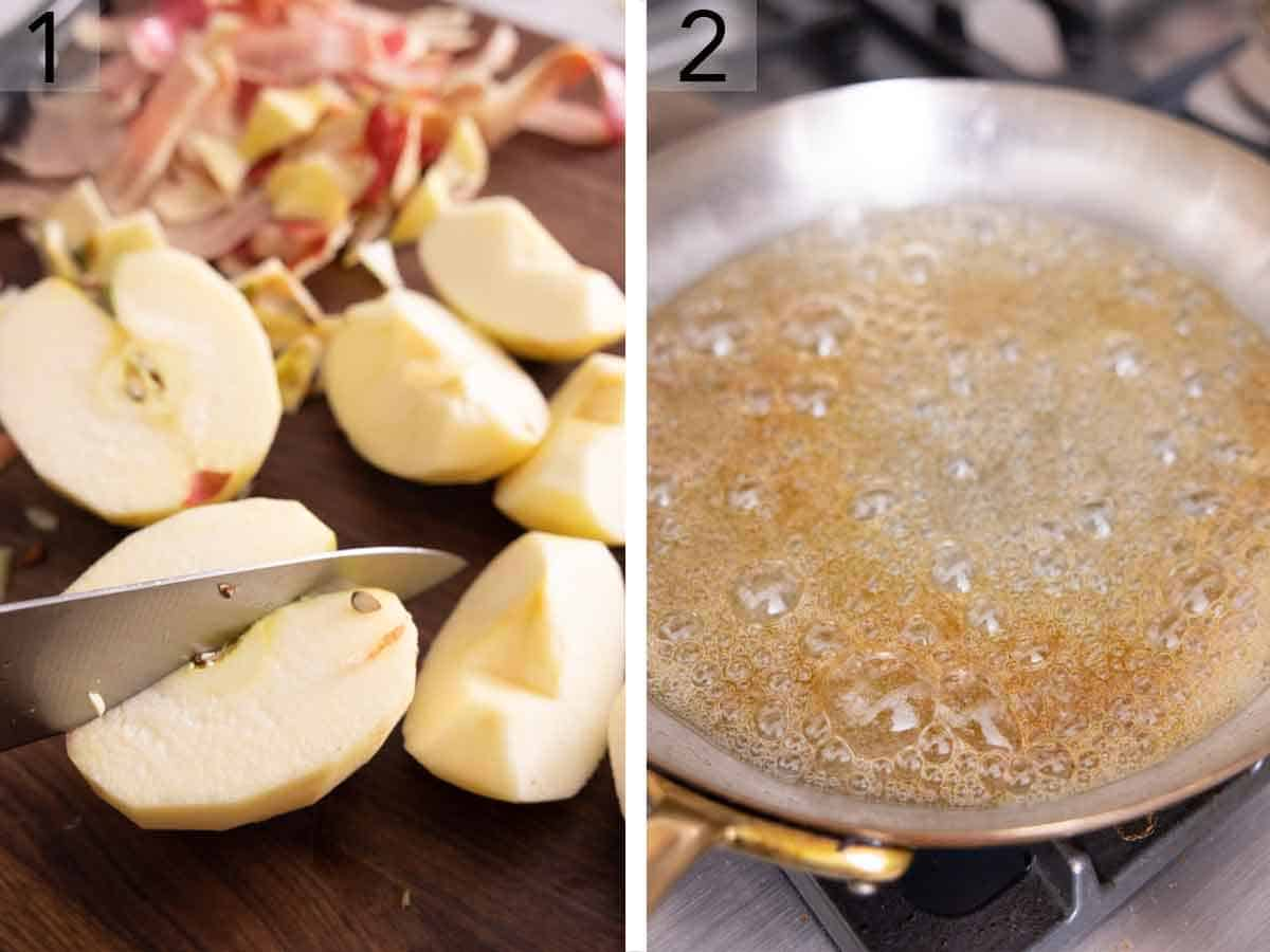 Set of two photos showing an apple being quartered and sugar melted in a pan.