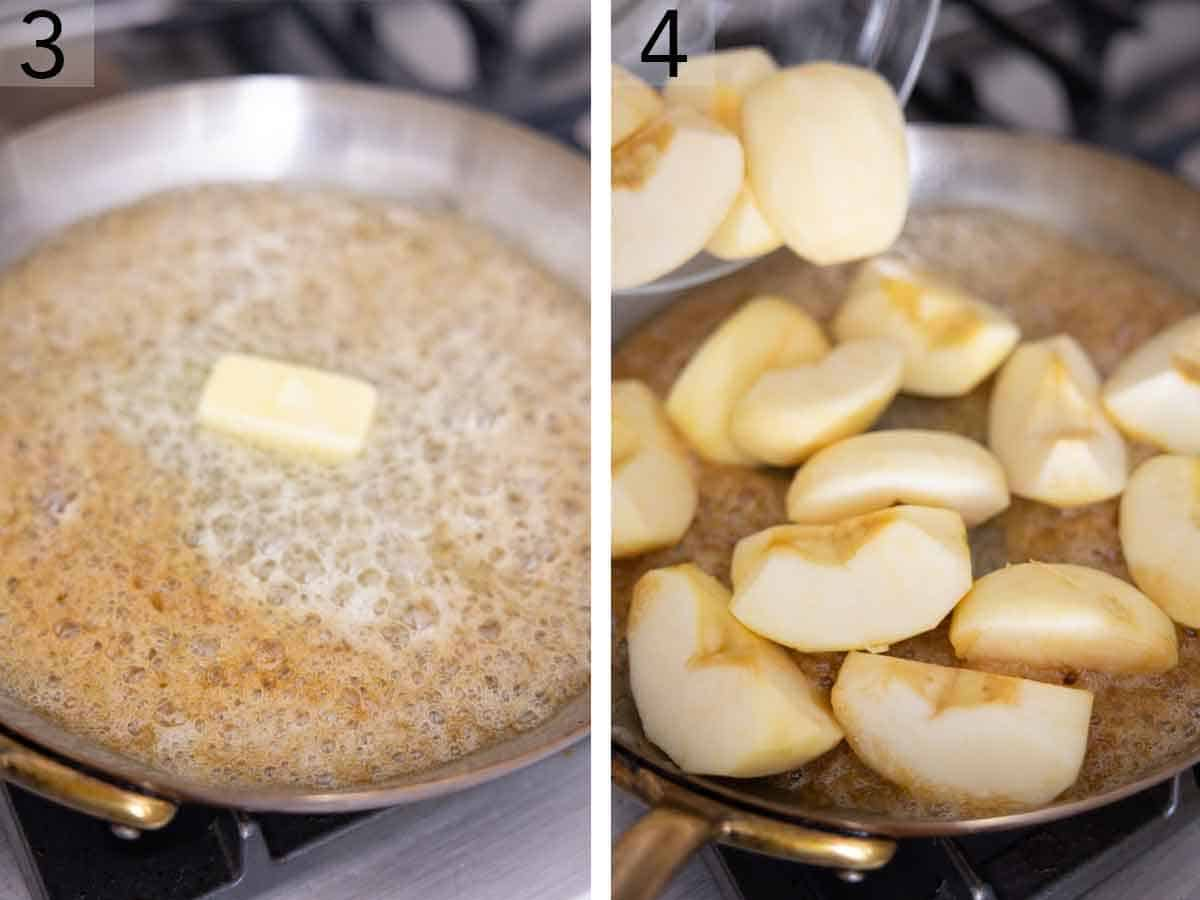 Set of two photos showing butter added to the melted sugar then cut apples added.
