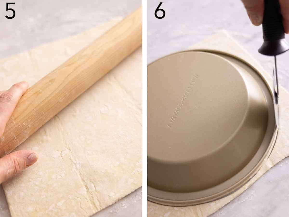 Set of two photos showing puff pastry rolled out and cut into a circle.