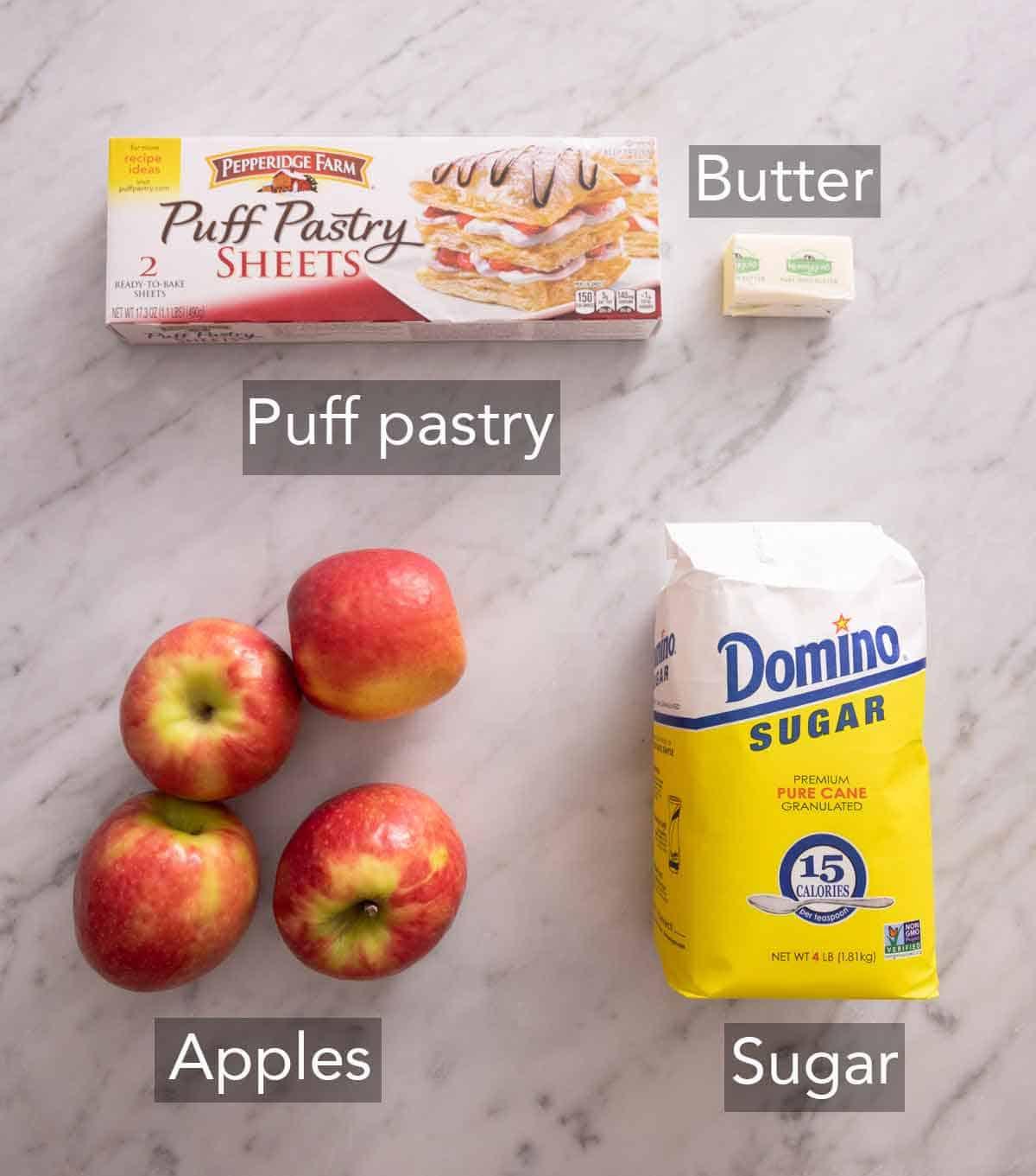 Ingredients needed to make tarte Tatin.