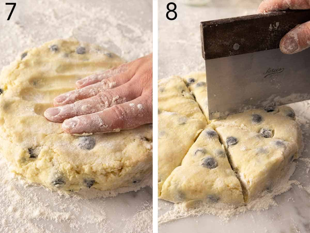 Set of two photos showing the dough knead together then cut into triangles.