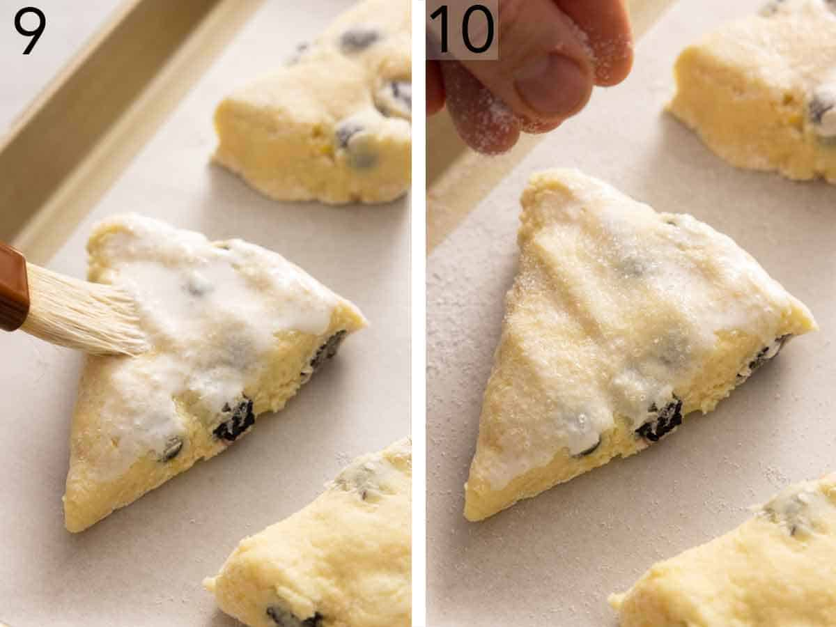 Set of two photos showing cream brushed on then sugar sprinkled onto the scones.