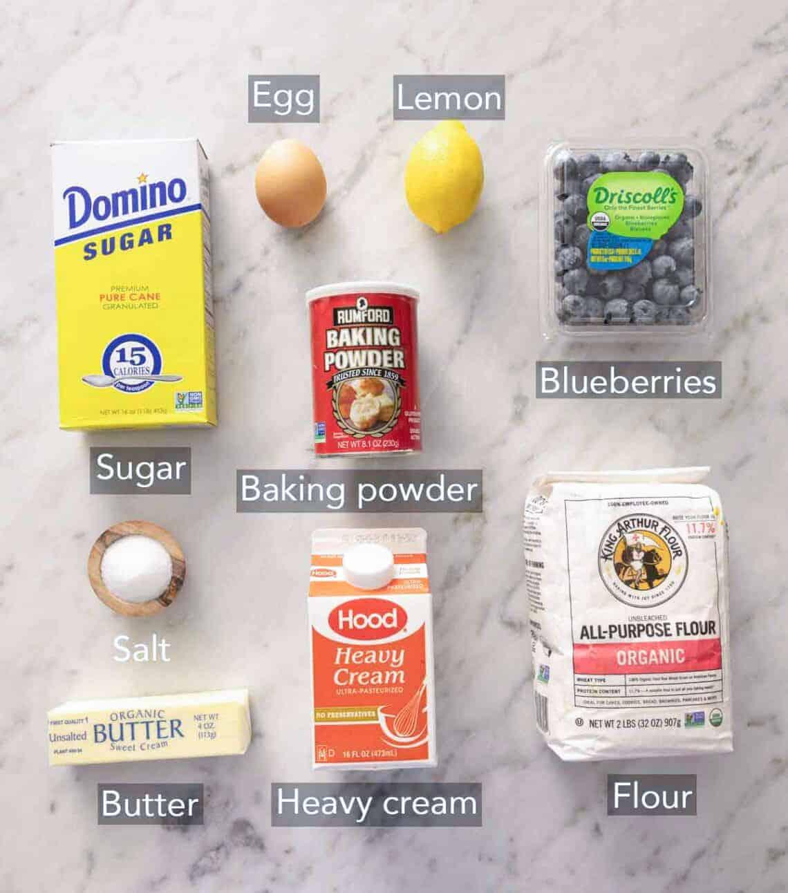 Ingredients needed to make blueberry scones.