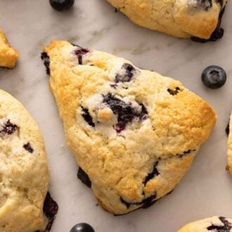 Overhead view of multiple blueberry scones with blueberries scattered around.