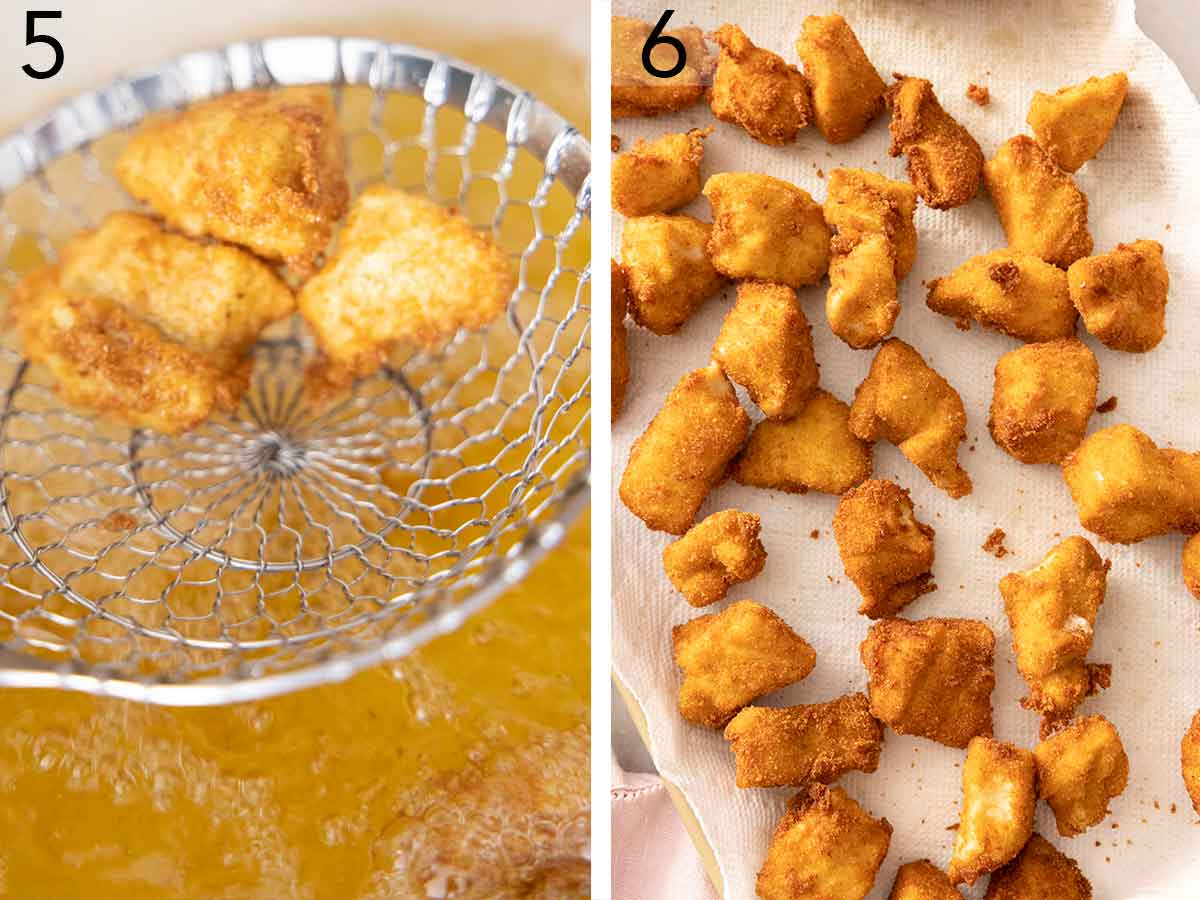 Set of two photos showing pieces fried and drained before placing on a paper towel.