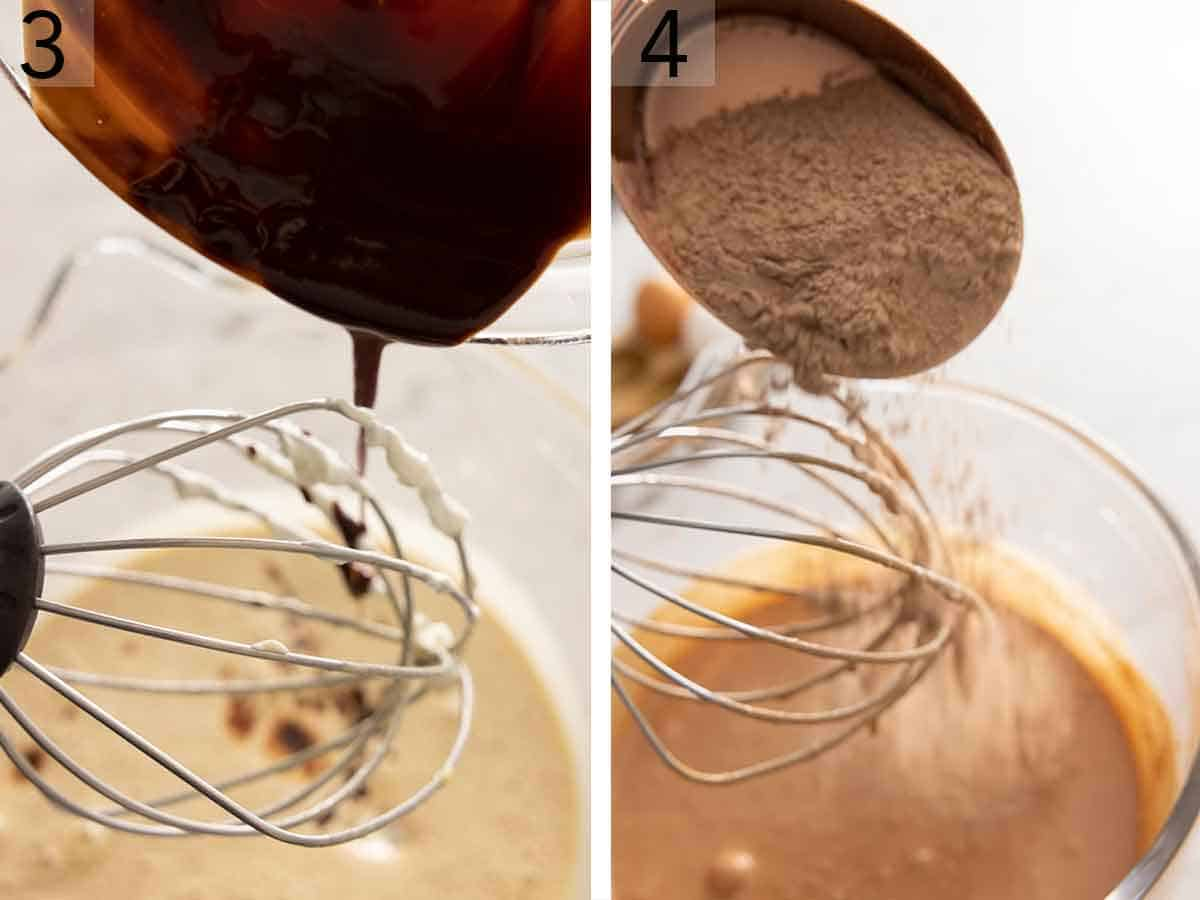 Set of two photos showing melted chocolate and cocoa powder added to batter.