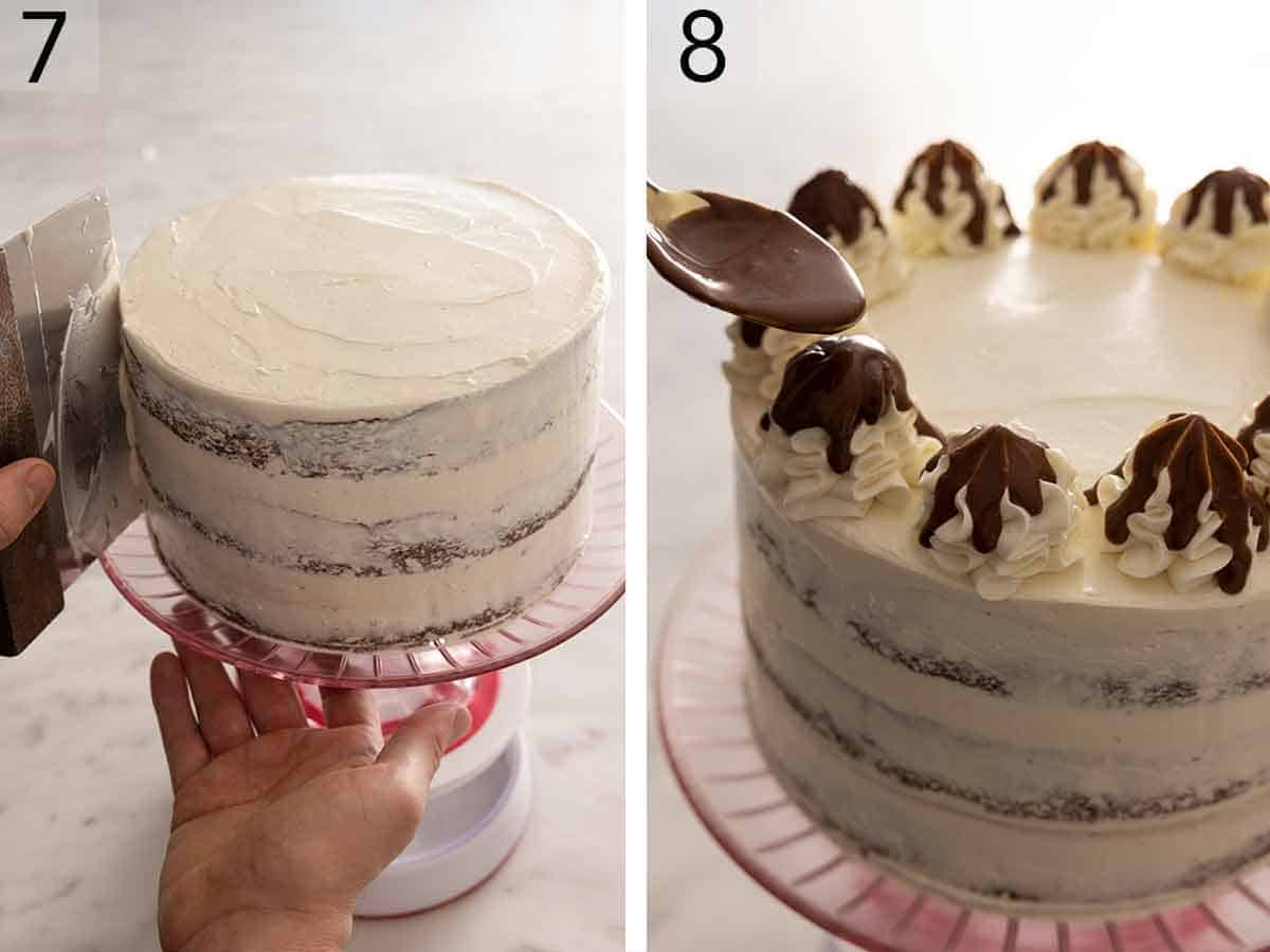 Set of two photos showing cake frosted and topped with whipped cream and melted chocolate.
