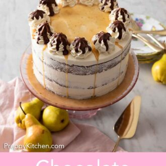 Pinterest graphic of a chocolate pear cake on a cake stand with pears and plates around.