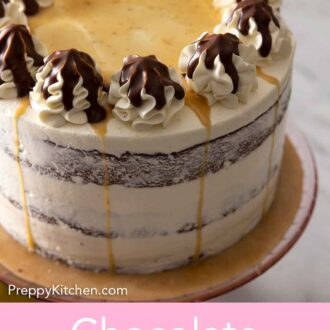 Pinterest graphic of a chocolate pear cake, off-center, on a cake stand.