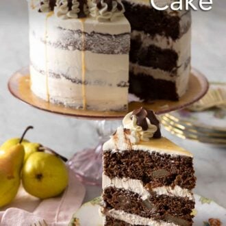 Pinterest graphic of a slice of chocolate pear cake on a plate in front of the cut cake on a stand.