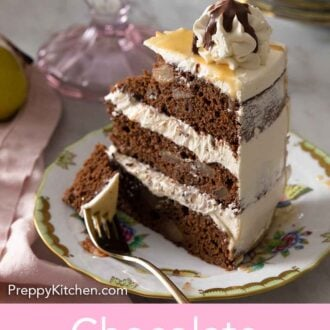 Pinterest graphic of a slice of chocolate pear cake with a piece on a fork.