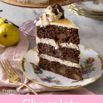 Pinterest graphic of a slice of chocolate pear cake on a plate.