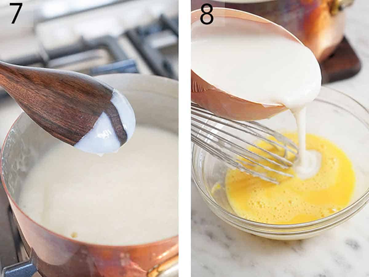 Set of two photo showing thickened liquid in the pot and then added to the whisked eggs.