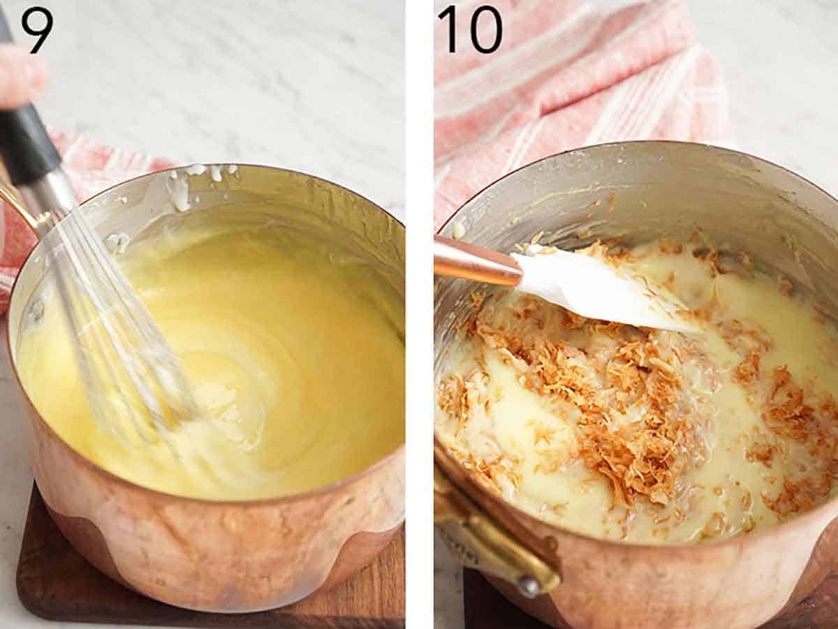 Set of two photos showing the mixture whisked and combined with toasted shredded coconut.