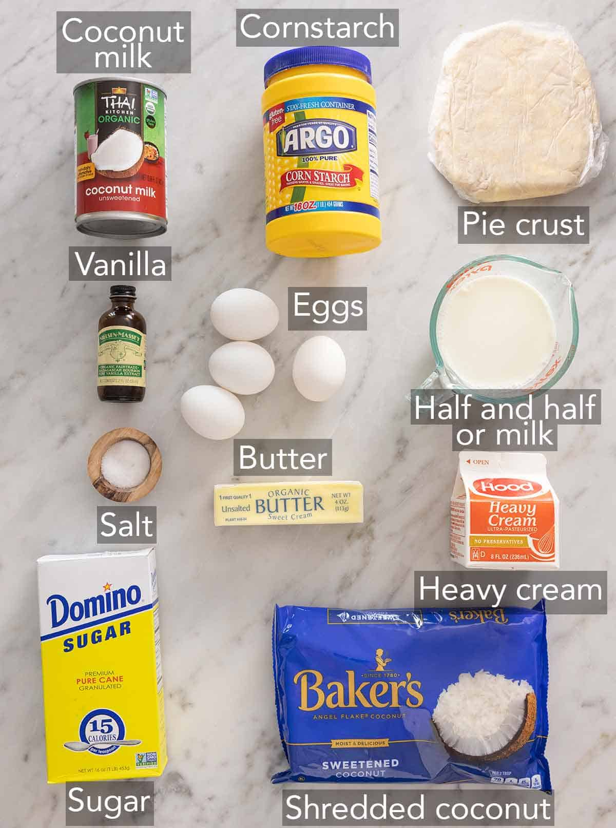 Ingredients needed to make a coconut cream pie.