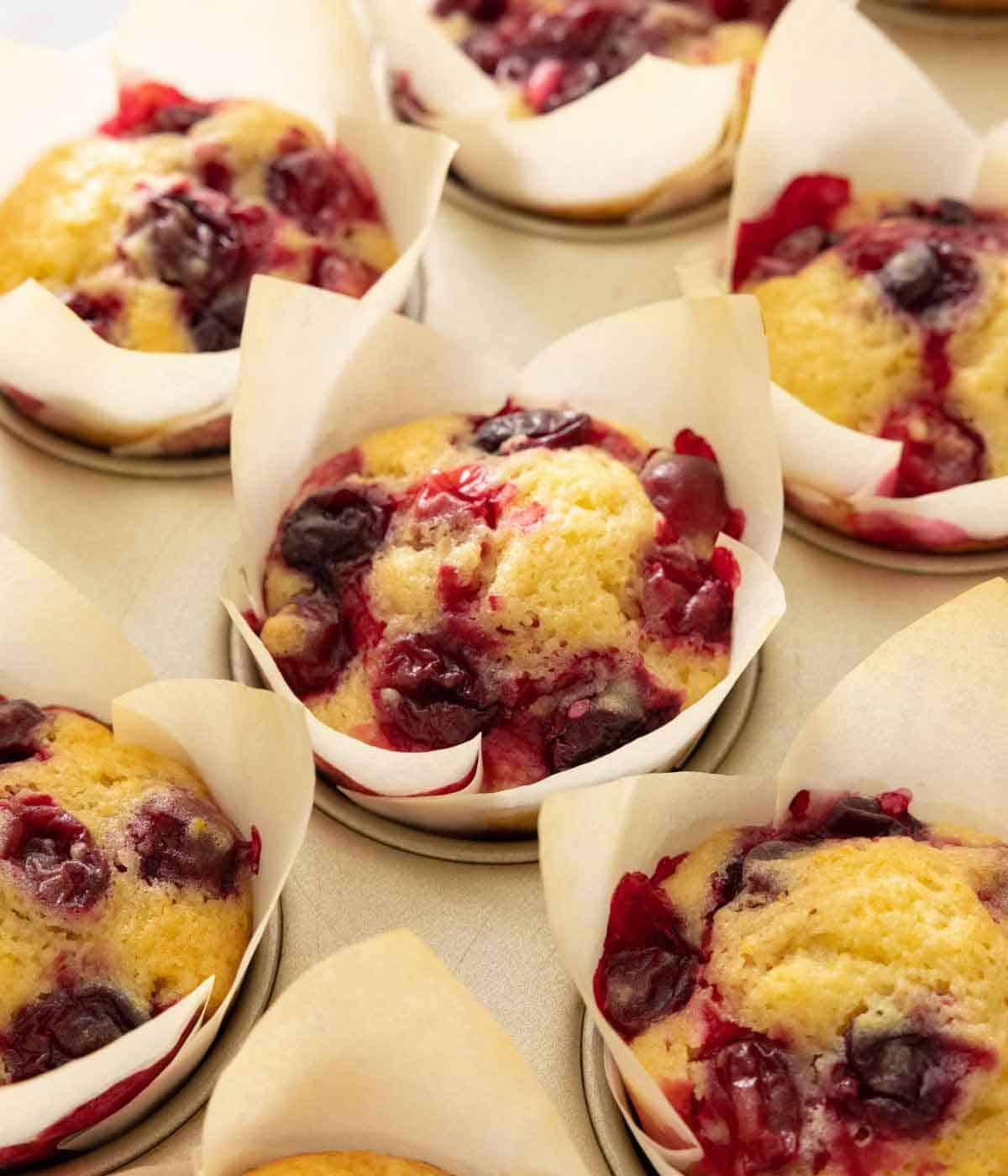 Multiple cranberry orange muffins in a muffin tin.