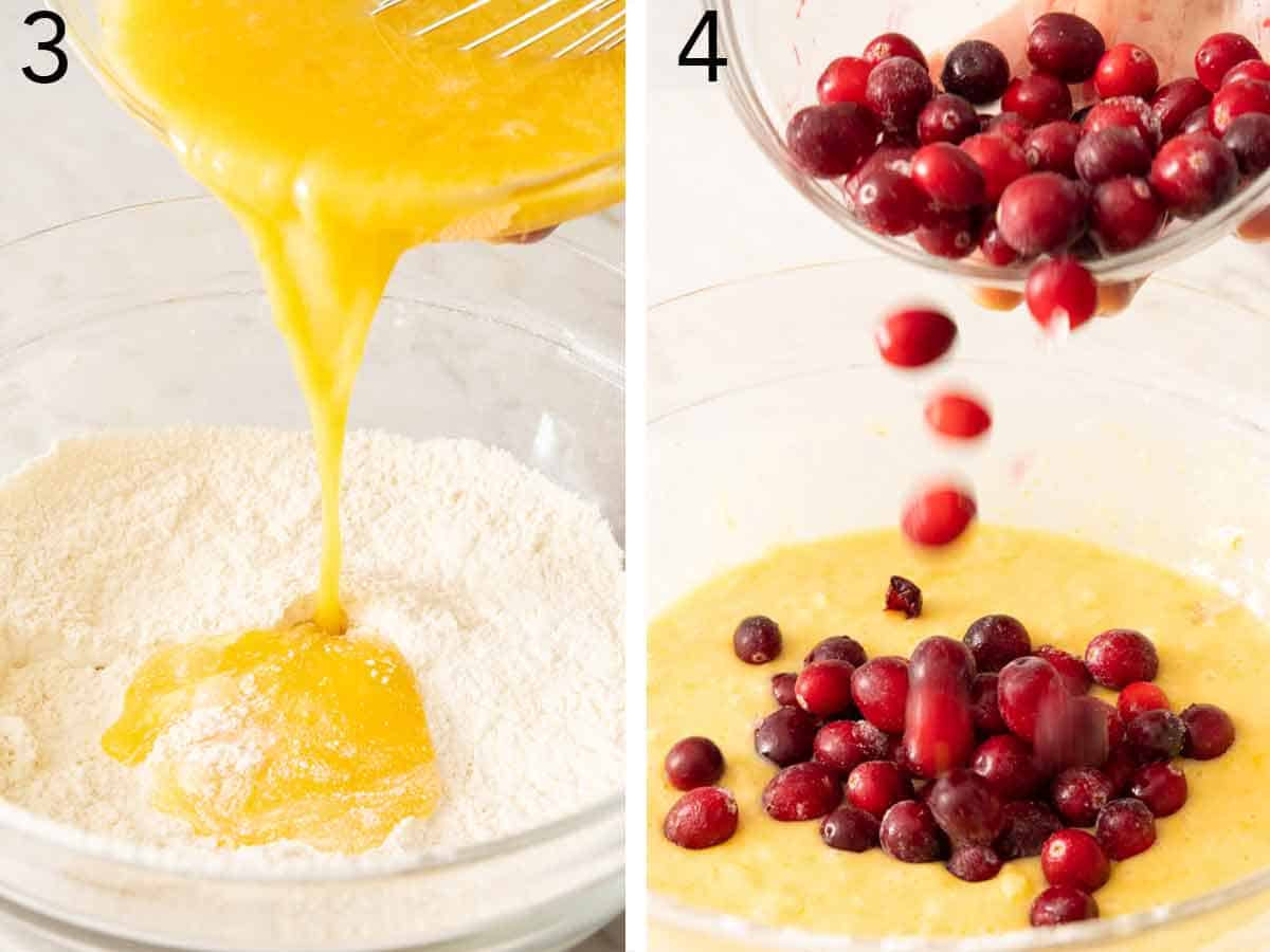 Set of two photos showing wet ingredients mixed with dry ingredients before adding cranberries.