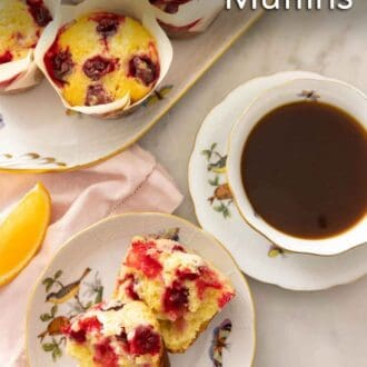 Pinterest graphic of an overhead view of a muffin, cut in half, beside a coffee.