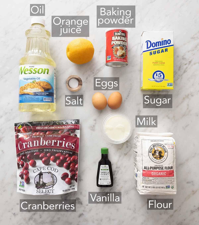 Ingredients for cranberry orange muffins.