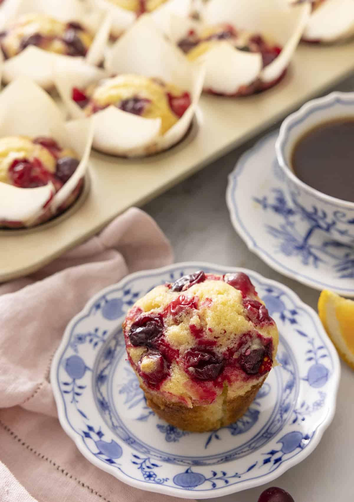 A plate with a cranberry orange muffin with more in the back.