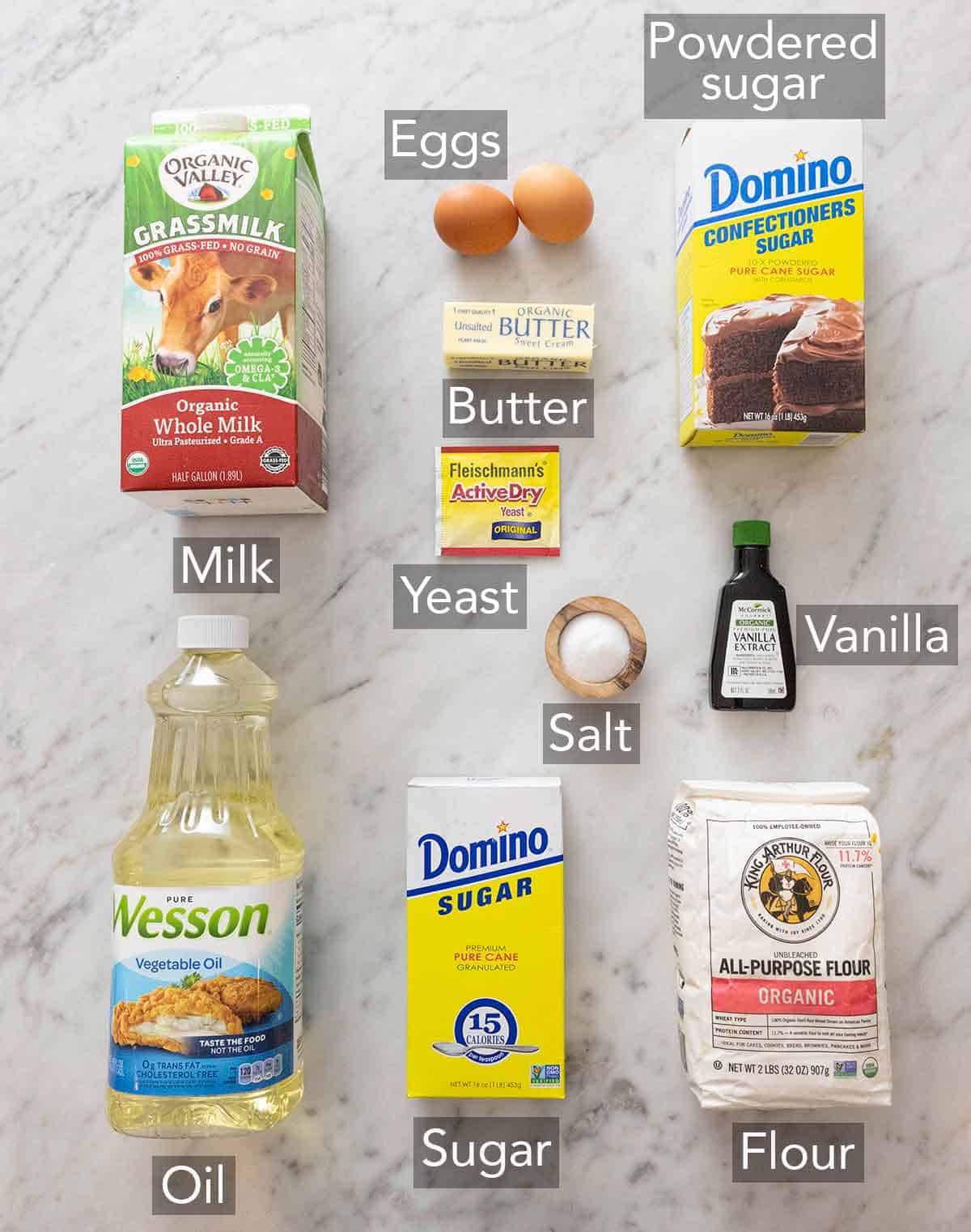 Ingredients needed to make glazed donuts.