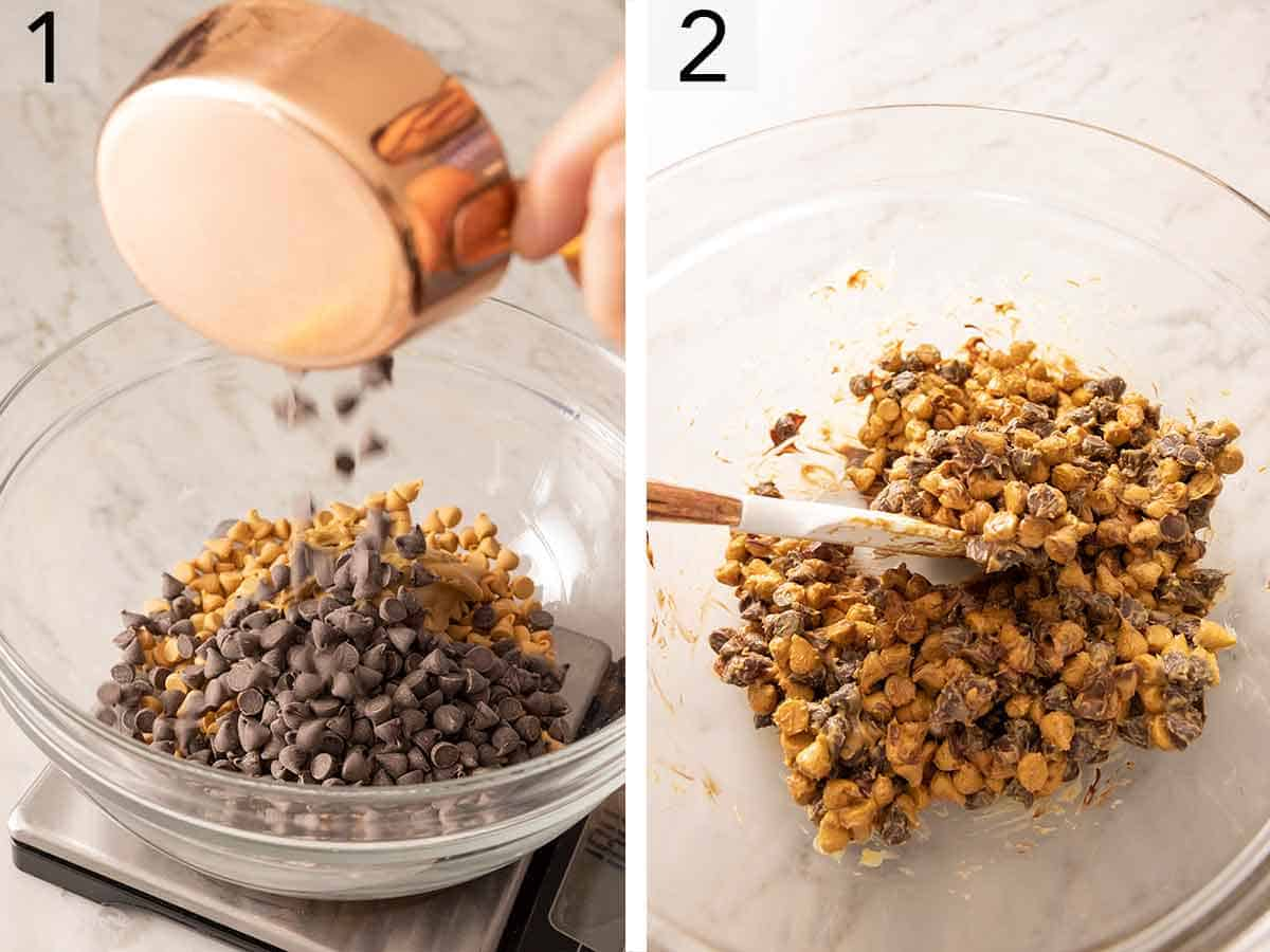 Set of two photos showing chocolate chips, butterscotch chips, and peanut butter added to a bowl and microwaved.
