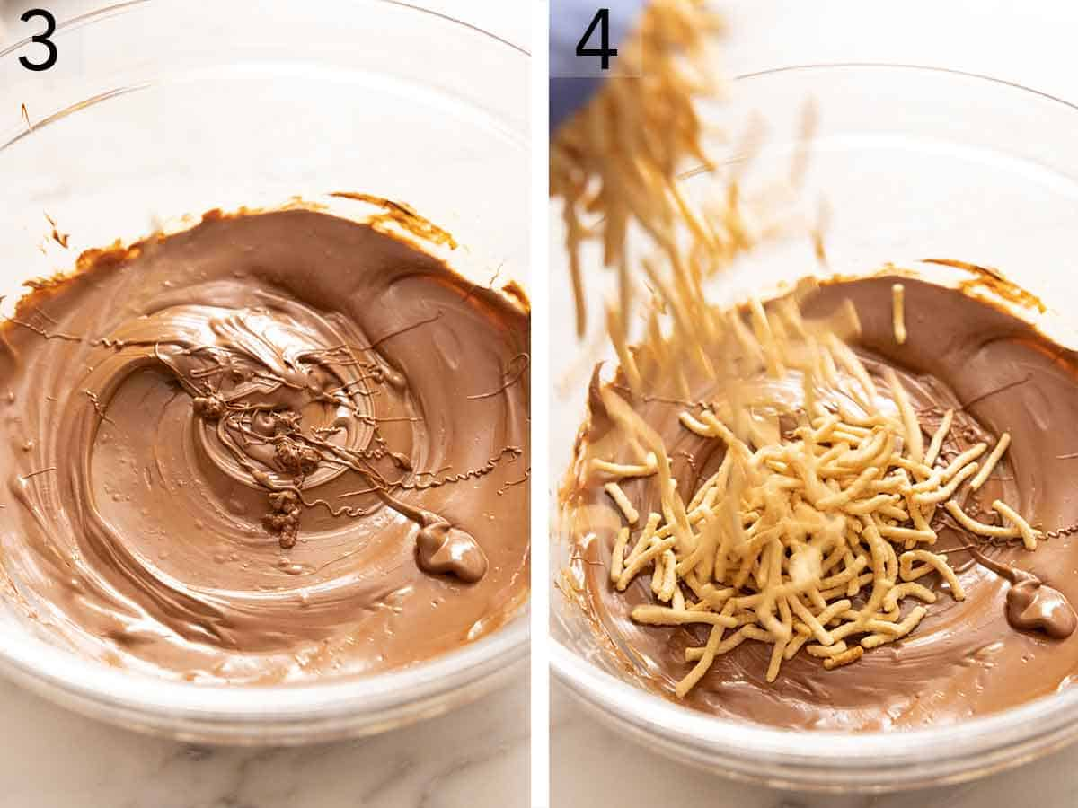 Set of two photos showing the chocolate mixture melted and chow mein noodles added.