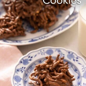 Pinterest graphic of a plate of haystack cookie in front of a platter.