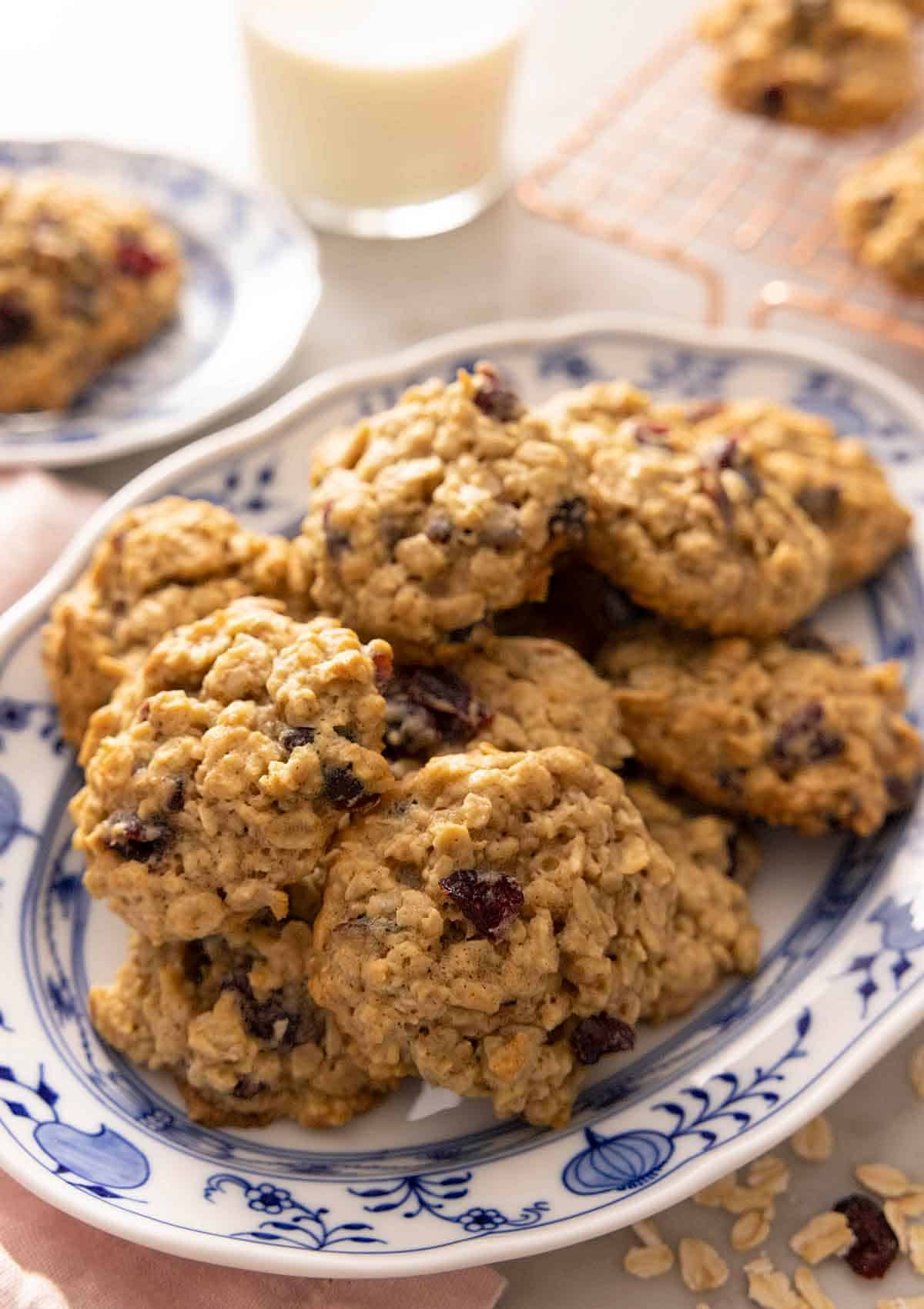 A platter of oatmeal cranberry cookies.