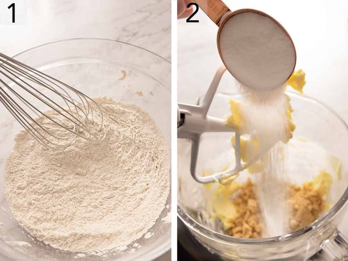 Set of two showing dry ingredients whisked and sugar added to beaten butter.