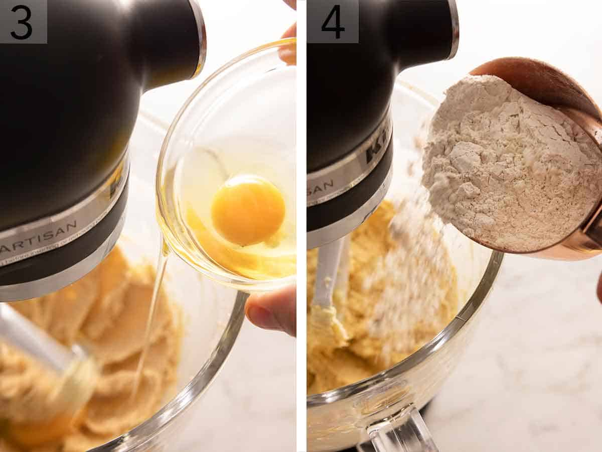 Set of two photos of an egg added to creamed butter then dry ingredients added.