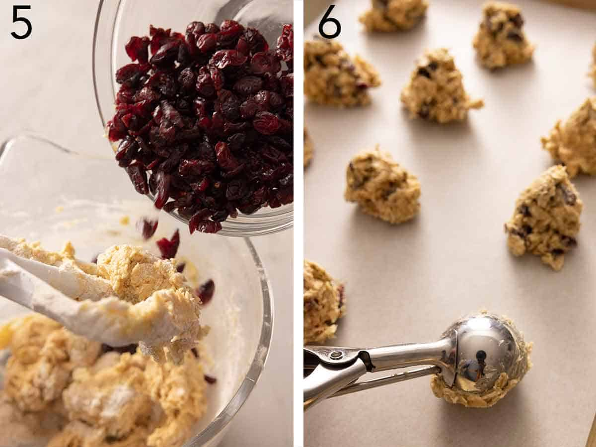 Set of two photos of dried cranberries added to dough then portioned out.