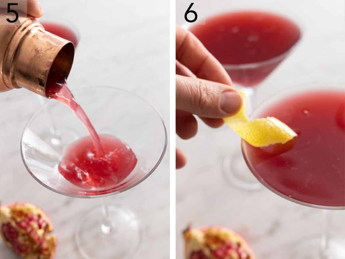 Set of two photos showing liquid strained to a glass then garnished with a lemon peel.